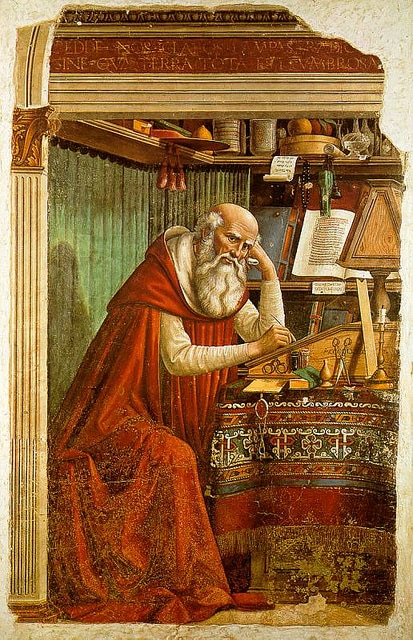 St Jerome, patron saint of translators. His translation of the bible from Hebrew into Latin in the 4th and 5th centuries made it accessible to the masses.