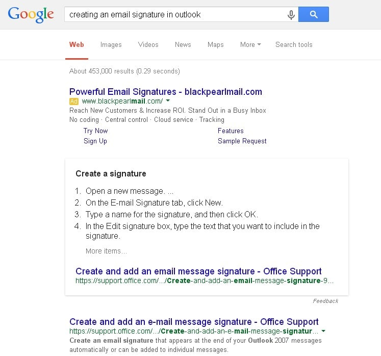 Google search email signatures