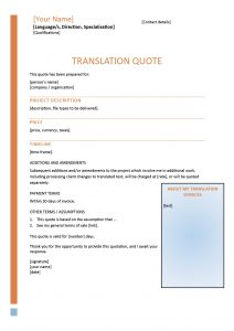 Translation Quote Template 1