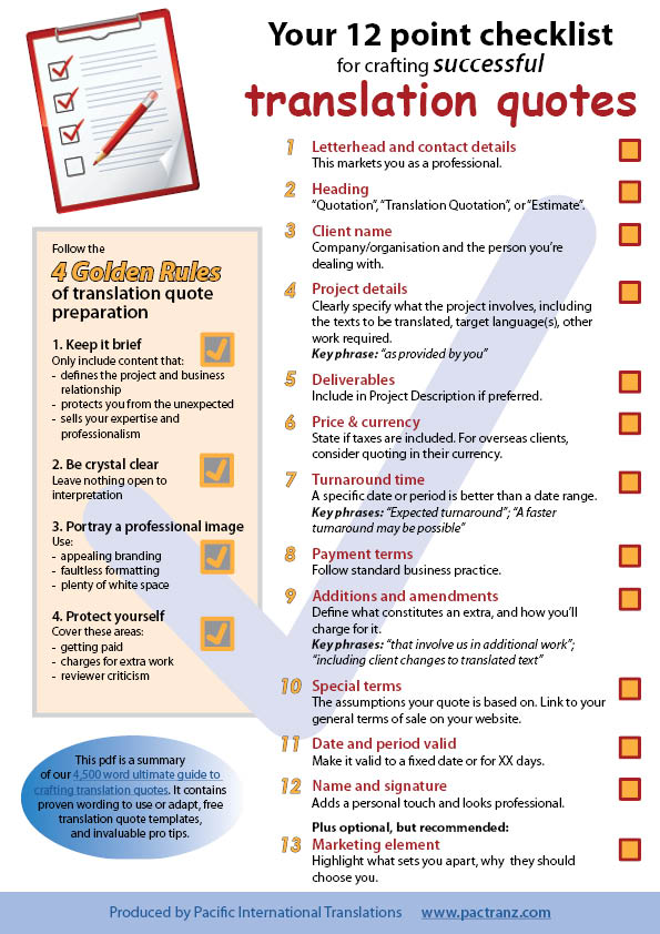 translation quotation checklist