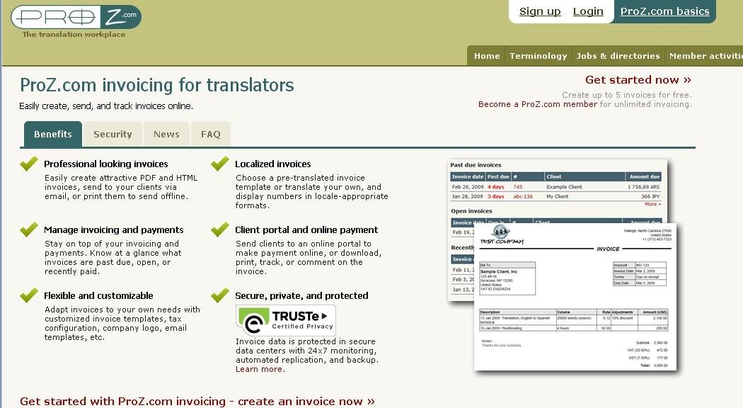 Proz invoicing tool