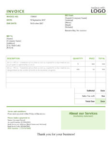 Translation invoice template 1