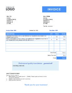 translation invoice template example