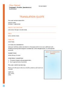 translation quote template example