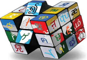 multilingual dtp example in the form of a Rubik's Cube with foreign text on each square